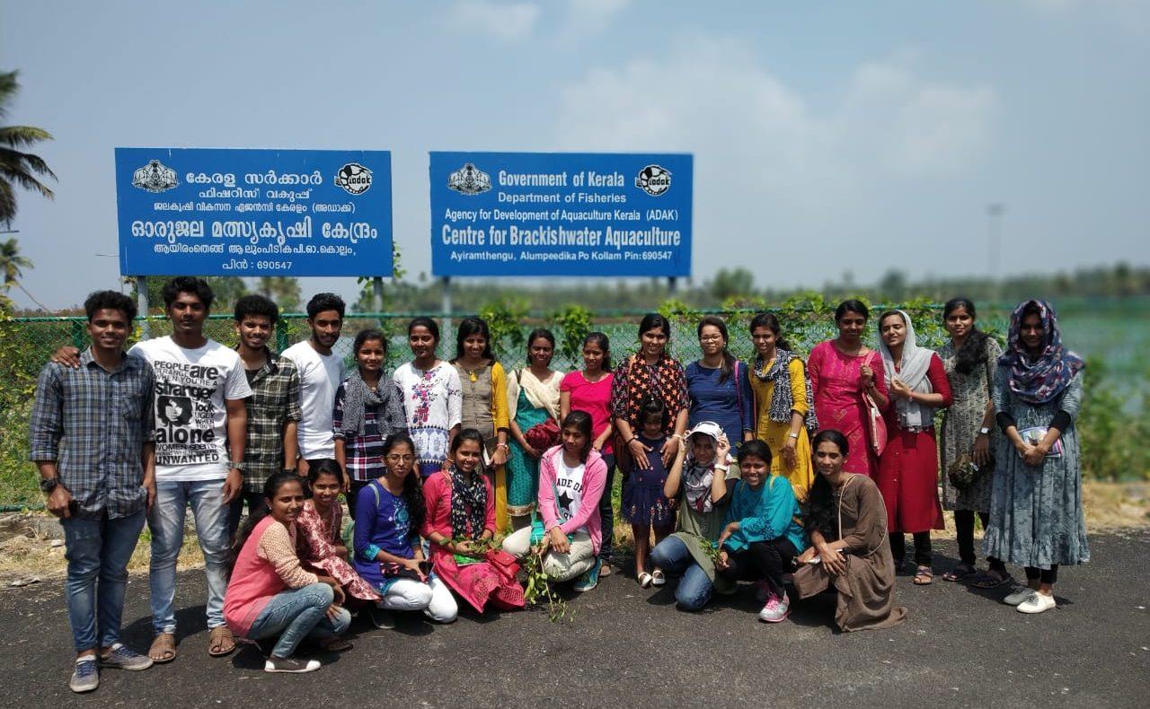 Study tour to Centre for Brackish water Aquaculture at Ayiramthengu, Kayamkulam